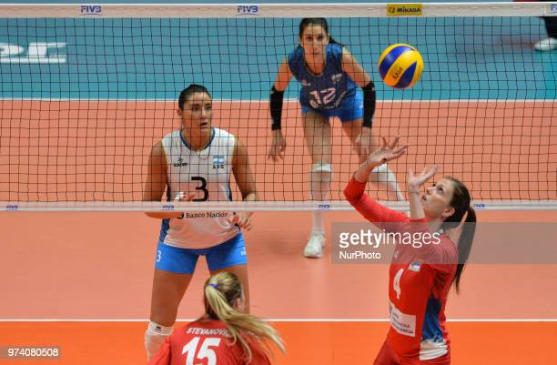of Serbia in action during FIVB Volleyball Nations League match between Argentina and Serbia at the stadium of the technological university of the...