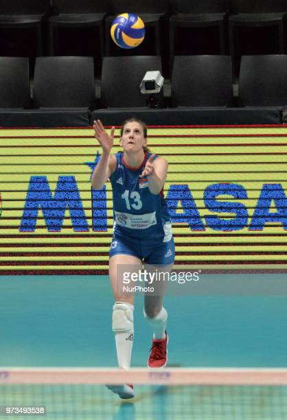 of Serbia in action during FIVB Volleyball Nations League on 12 June 2018 in Santa Fe Argentina The US Womens National Team lost to Serbia 3028 2325...