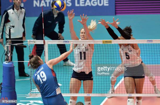 of Serbia vies Annie Drews and Rachael Adams of USA in action during FIVB Volleyball Nations League on 12 June 2018 in Santa Fe Argentina The US...