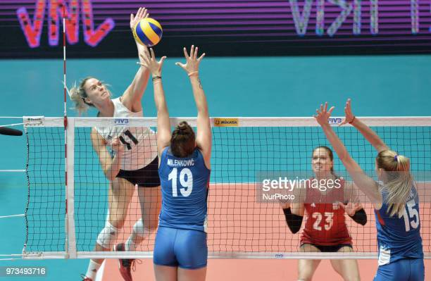 of Serbia vies Annie Drews of USA in action during FIVB Volleyball Nations League on 12 June 2018 in Santa Fe Argentina The US Womens National Team...