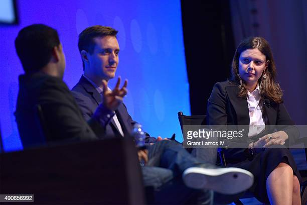 CEO of Sharethrough Dan Greenberg President of AppNexus Michael Rubenstein and Global CEO of Accuen Megan Pagliuca speak onstage at the Native Ad...