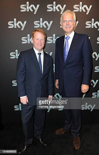 CEO of SKY Brian Sullivan and comedian Harald Schmidt attends the exibition stand of SKY during the media days at the ICM on October 24 2012 in...