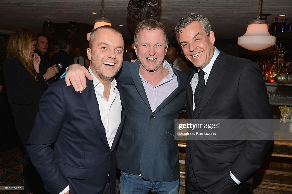 COO of Soho House Martin Kuczmarsk, Founder of Soho House Nick Jones and actor Danny Huston attend a dinner and auction hosted by CHANEL to benefit the Henry Street Settlement at Soho Beach House on December 5, 2012 in Miami Beach, Florida.