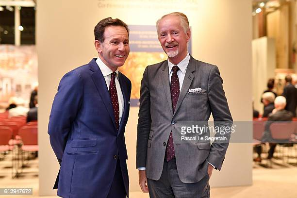 CEO of Sotheby's France Mario Tavella and Bertrand du Vignaud pose prior the Sotheby's Conference Passion for Architectural Heritage at Rue Du...