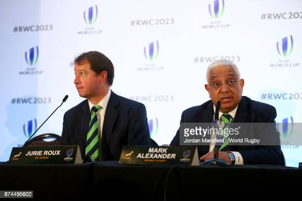 CEO of South Africa Rugby Jurie Roux and President of South Africa Rugby Mark Alexander talk to the media during the Rugby World Cup 2023 Host...