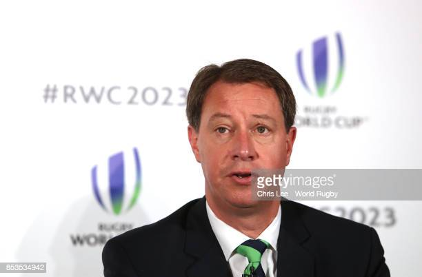 CEO of South Africa Rugby Jurie Roux during the Rugby World Cup 2023 Bid Presentations event at Royal Garden Hotel on September 25 2017 in London...