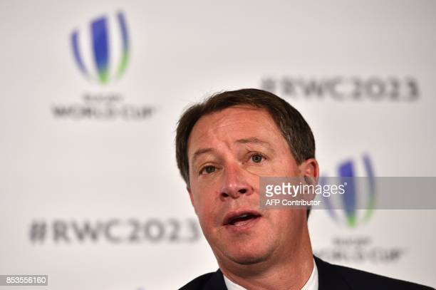 CEO of South Africa Rugby Jurie Roux takes part in a press conference after South Africa presented their bid to host the 2023 Rugby World Cup in...
