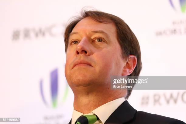 CEO of South Africa Rugby Jurie Roux talks to the media during the Rugby World Cup 2023 Host Decision after France were annouced as the host nation...