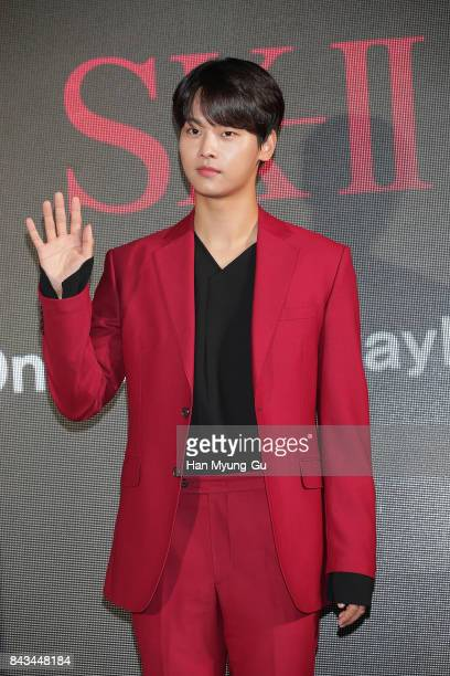 N of South Korean boy band VIXX attends the SKII '#OneBottleAwayFrom' Campaign Photocall on September 6 2017 in Seoul South Korea
