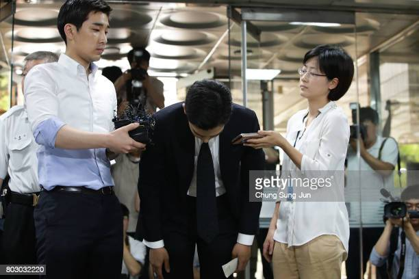 Of South Korean boyband Big Bang arrives at the Seoul Central District Court for hearing on his marijuana usage case on June 29, 2017 in Seoul, South...