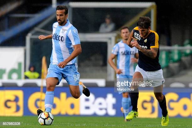 GENNARO of SS Lazio compete for the ball with Bruno Zucolin of Hellas Verona during the Serie A match between Hellas Verona FC and SS Lazio at Stadio...