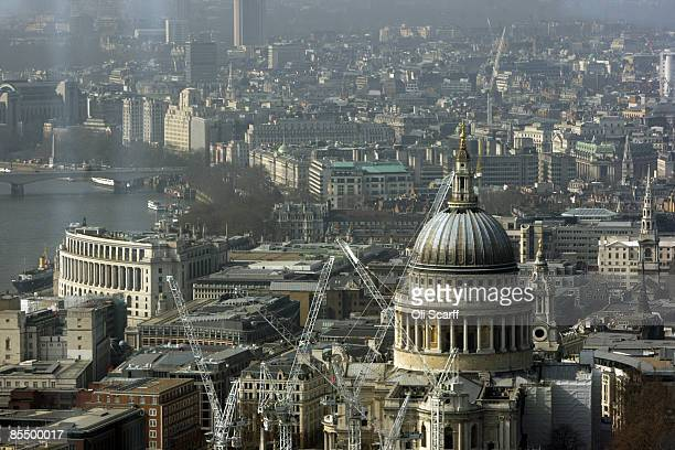 A of St Paul's Cathedral view from the top of Tower 42 the tallest building in the City of London on March 19 2009 in London Completed in 1980 Tower...