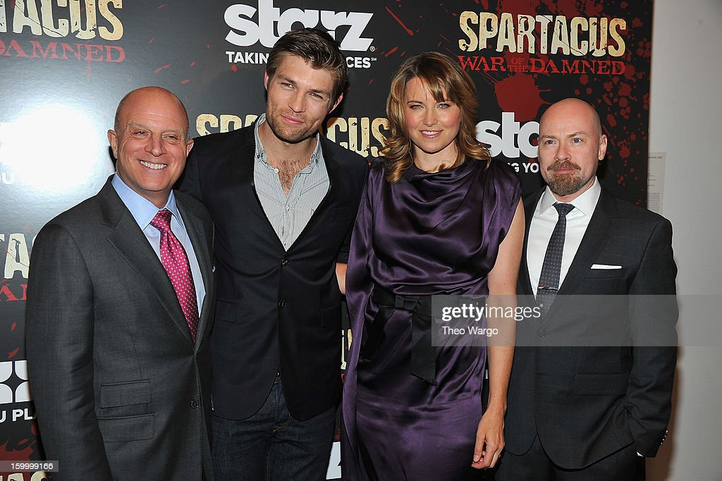 CEO of Starz, LLC, Liberty Media Corp Chris Albrecht, actors Liam McIntyre, Lucy Lawless and Show creator Steven DeKnight attend 'Spartacus: War Of The Damned' Series Finale Premiere at MOMA on January 24, 2013 in New York City.