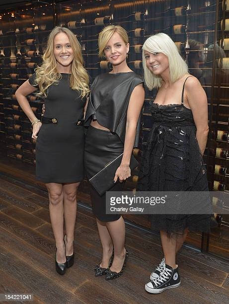 VP of Strategic Partnerships GenArt Katie May actress Mena Suvari and stylist Taylor Jacobsen attend GenArt's 14th Annual Fresh Faces In Fashion...