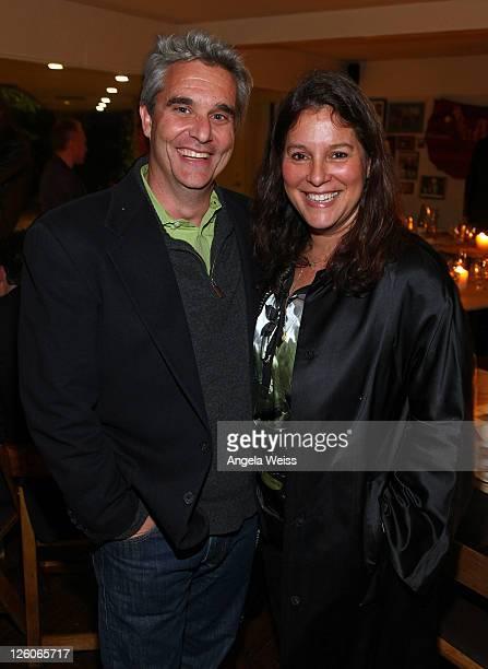 CEO of Studio GPU David Koenig and Jennifer Gross of Evolutionary Media Group PR attend the Friends N Family Dinner at The Jack Warner Estate on...