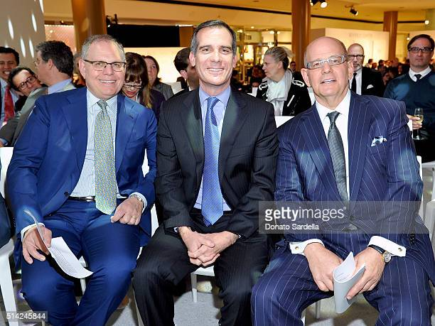 COO of Taubman Centers William Taubman Mayor of Los Angeles Eric Garcetti and Chairman President and CEO of Taubman Centers Robert Taubman celebrate...