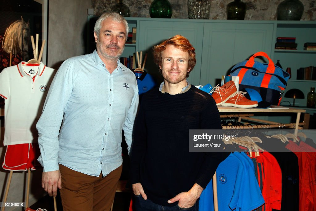 CEO of TBS Jean-Marc Taillieu and Sailor Francois Gabart attend 40th anniversary of TBS and Capsule Collection Presentation at The Hoxton Paris on February 20, 2018 in Paris, France.