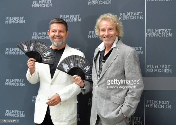 Of Tele 5 Kai Blasberg and entertainer Thomas Gottschalk attend the premiere of the movie 'Safarie - Match me if you can' as part of the Munich Film...