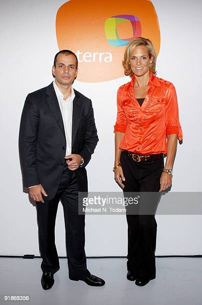 CEO of Terra USA Fernando Rodriguez and swimmer Dara Torres attend Orbita US 2009 at The New Museum on October 13 2009 in New York City