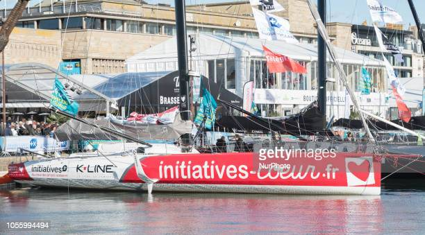of th skipper Samantha Davies is seen in SaintMalo western France on October 30 a few days prior to the start of the Route du Rhum solo sailing race...