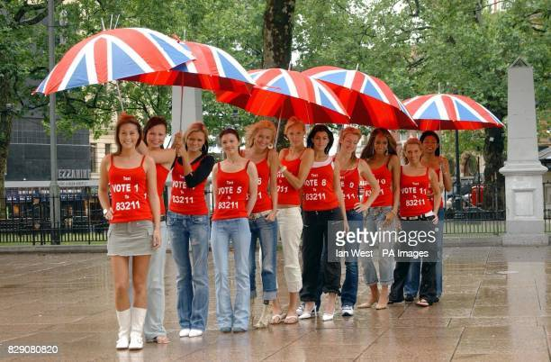 11 of the 12 finalists for Miss Great Britain 2004 during a photocall today Wednesday 23 June 2004 at Leicester Square central London where the girls...