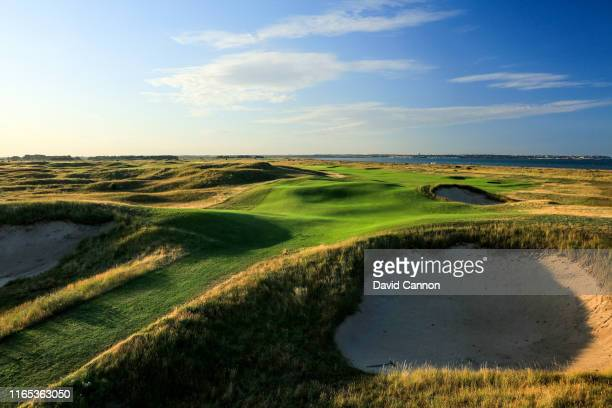 A of the 573 yards par 5 seventh hole at Royal StGeorge's Golf Club the host venue for the 2020 Open Championship on July 29 2019 in Sandwich England