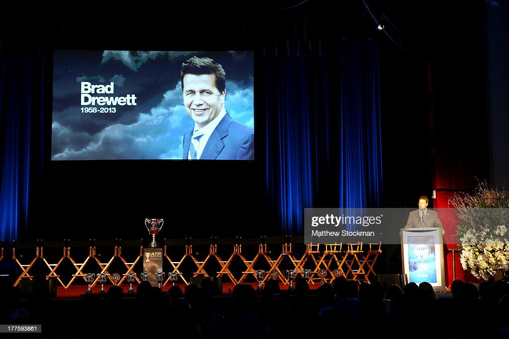 CEO of the Americas Mark Young memorializes Brad Drewett during the ATP Heritage Celebration at The Waldorf=Astoria on August 23, 2013 in New York City.