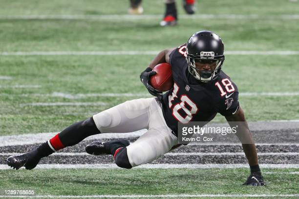 Of the Atlanta Falcons makes the third quarter reception against the New Orleans Saints at Mercedes-Benz Stadium on DecCalvin Ridleyember 06, 2020 in...