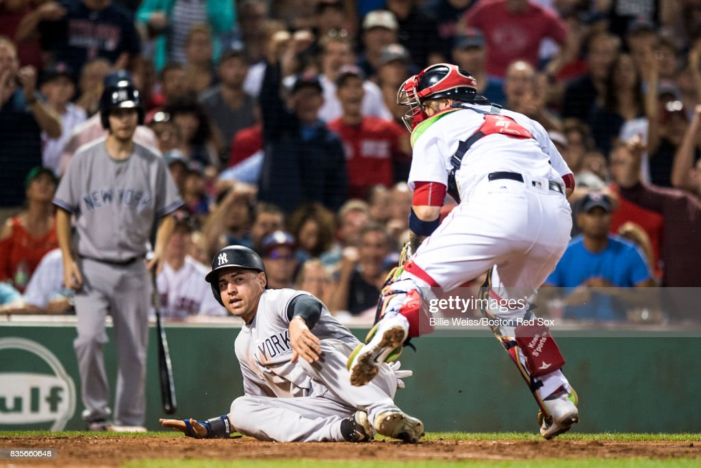 of the Boston Red Sox during the inning of a game against the New York Yankees on August 19, 2017 at Fenway Park in Boston, Massachusetts.
