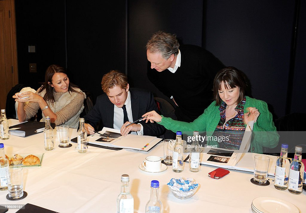 CEO of the British Fashion Council Caroline Rush, actor Dan Stevens, Director of the London Designer Festival Ben Evans and Artistic Director of The Donmar Warehouse Josie Rourke judge works at the Corinthia Artist In Residence winners announcement at Corinthia Hotel London on January 13, 2012 in London, England.