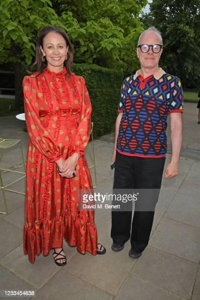 Of the British Fashion Council Caroline Rush and Hans-Ulrich Obrist attend a drinks reception celebrating 2021 BFC/GQ Designer Menswear Fund winner...