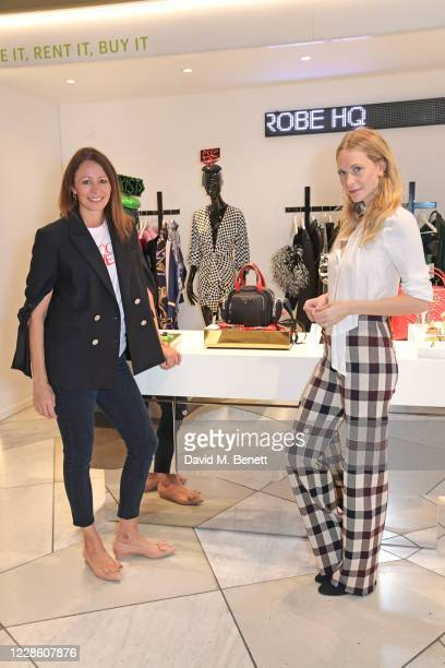 "Of the British Fashion Council Caroline Rush and Poppy Delevingne attend the My Wardrobe HQ LFW panel talk ""The Future Of Fashion In A Post Covid..."