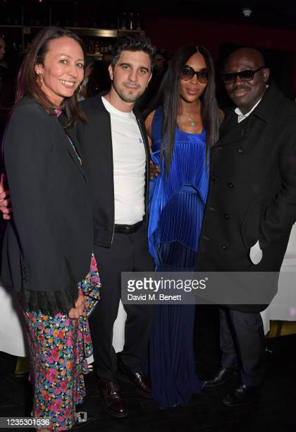 Of the British Fashion Council Caroline Rush, Nick Molnar, Naomi Campbell and Editor-In-Chief of British Vogue Edward Enninful attend the London...