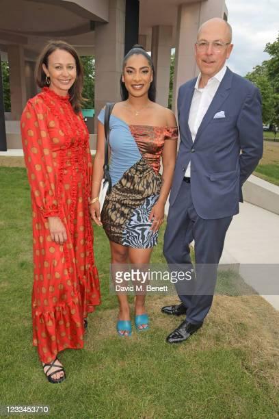 Of the British Fashion Council Caroline Rush, Priya Ahluwalia and Editor of GQ Dylan Jones attend a drinks reception celebrating 2021 BFC/GQ Designer...