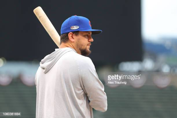 PLAYERNAME # of the Chicago Cubs ACTION before the National League Wild Card game against the Colorado Rockies at Wrigley Field on Tuesday October 2...