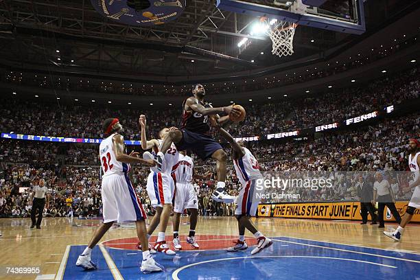 of the Cleveland Cavaliers makes the game winning shot against the Detroit Pistons in Game Five of the Eastern Conference Finals during the 2007 NBA...