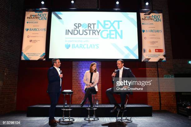 CEO of the Commonwealth Games Federation David Grevemberg and Team GB hockey Olympic Champion Helen RichardsonWalsh chats to the audience during...