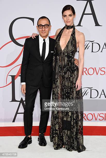 CEO of the Council of Fashion Designers of America Steven Kolb and Hilary Rhoda attend the 2015 CFDA Fashion Awards at Alice Tully Hall at Lincoln...