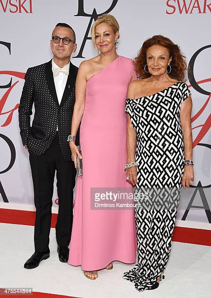 CEO of the Council of Fashion Designers of America Steven Kolb Nadja Swarovski and Designer Diane von Furstenberg attend the 2015 CFDA Fashion Awards...