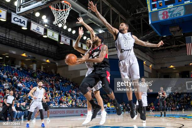 of the Delaware 87ers shoots against the Erie BayHawks during an NBA GLeague game on January 20 2018 at the Bob Carpenter Center University of...