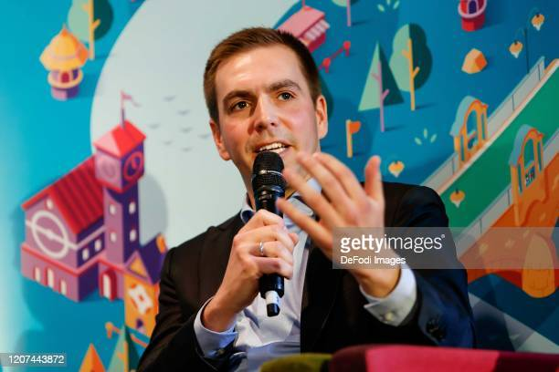 CEO of the DFB EURO GmbH Philipp Lahm gestures during the press conference UEFA EURO 2020 100 days to go at Olympiahalle on March 3 2020 in Munich...