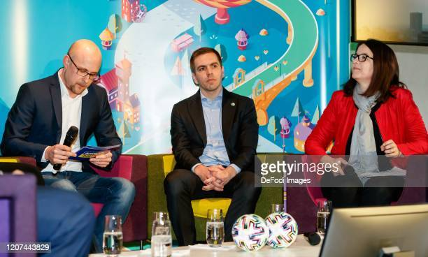 CEO of the DFB EURO GmbH Philipp Lahm looks on during the press conference UEFA EURO 2020 100 days to go at Olympiahalle on March 3 2020 in Munich...