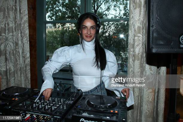 DJ of the event Fiona Zanetti performs during 24S launches LVMH Finalists' Collections at Restaurant Laperouse on September 03 2019 in Paris France