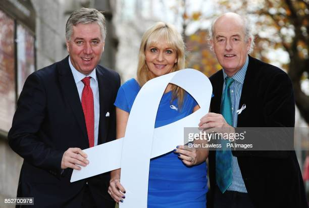 CEO of the FAI John Delaney Miriam O'Callaghan and Alan O'Neill CE0 of the Men's Development Network at a reception to mark White Ribbon Day at EU...