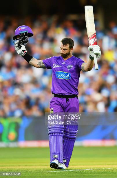 Of the Hurricanes celebrates bringing up his century during the Big Bash League match between the Adelaide Strikers and the Hobart Hurricanes at the...