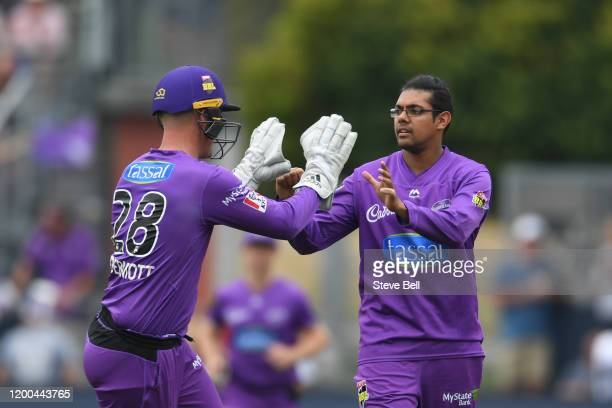 Of the Hurricanes celebrates taking the wicket of Travis Head of the Strikers during the Big Bash League match between the Hobart Hurricanes and the...