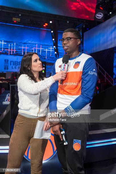Y 7 5 7 of the Knicks Gaming talks to NBA 2K analyst Alex Giaimo after the game against the Pistons GT on April 25 2019 at the NBA 2K Studio in Long...