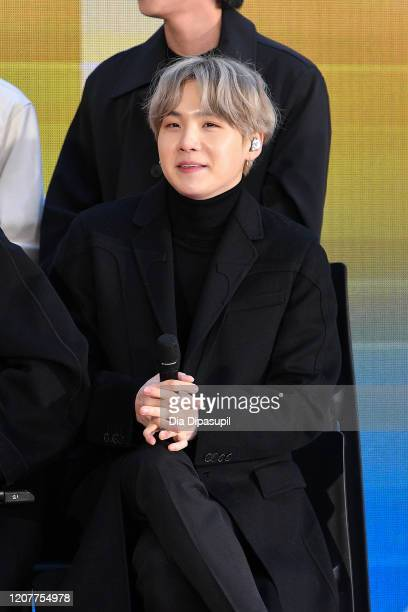 """Of the K-pop boy band BTS visit the """"Today"""" Show at Rockefeller Plaza on February 21, 2020 in New York City."""