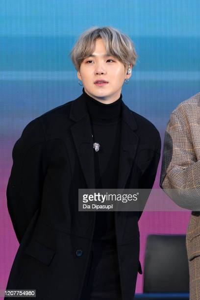 SUGA of the Kpop boy band BTS visit the Today Show at Rockefeller Plaza on February 21 2020 in New York City