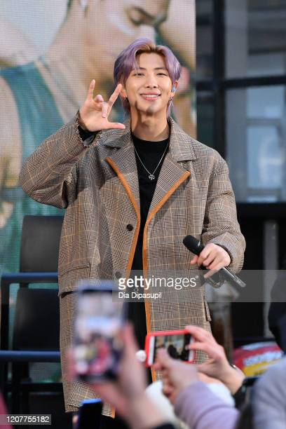 """Of the K-pop boy band BTS visits the """"Today"""" Show at Rockefeller Plaza on February 21, 2020 in New York City."""